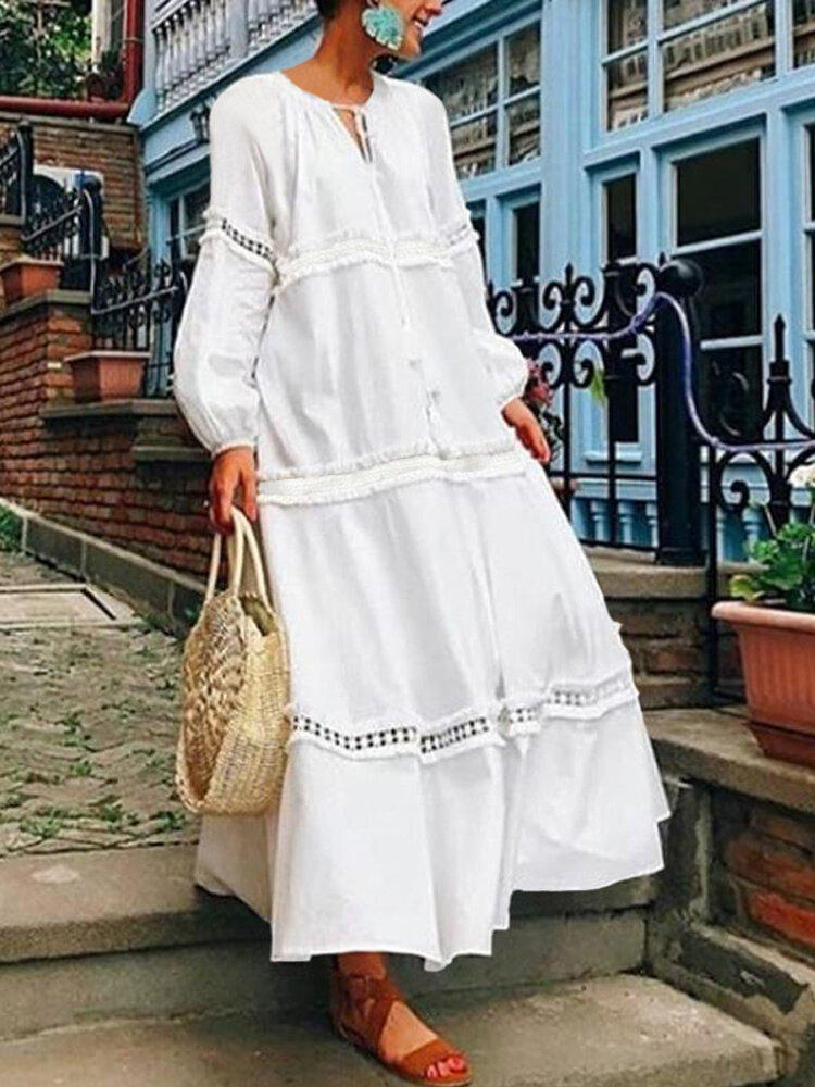 Women Long Sleeve Hollow Splice Loose Casual Swing Long Maxi Dress