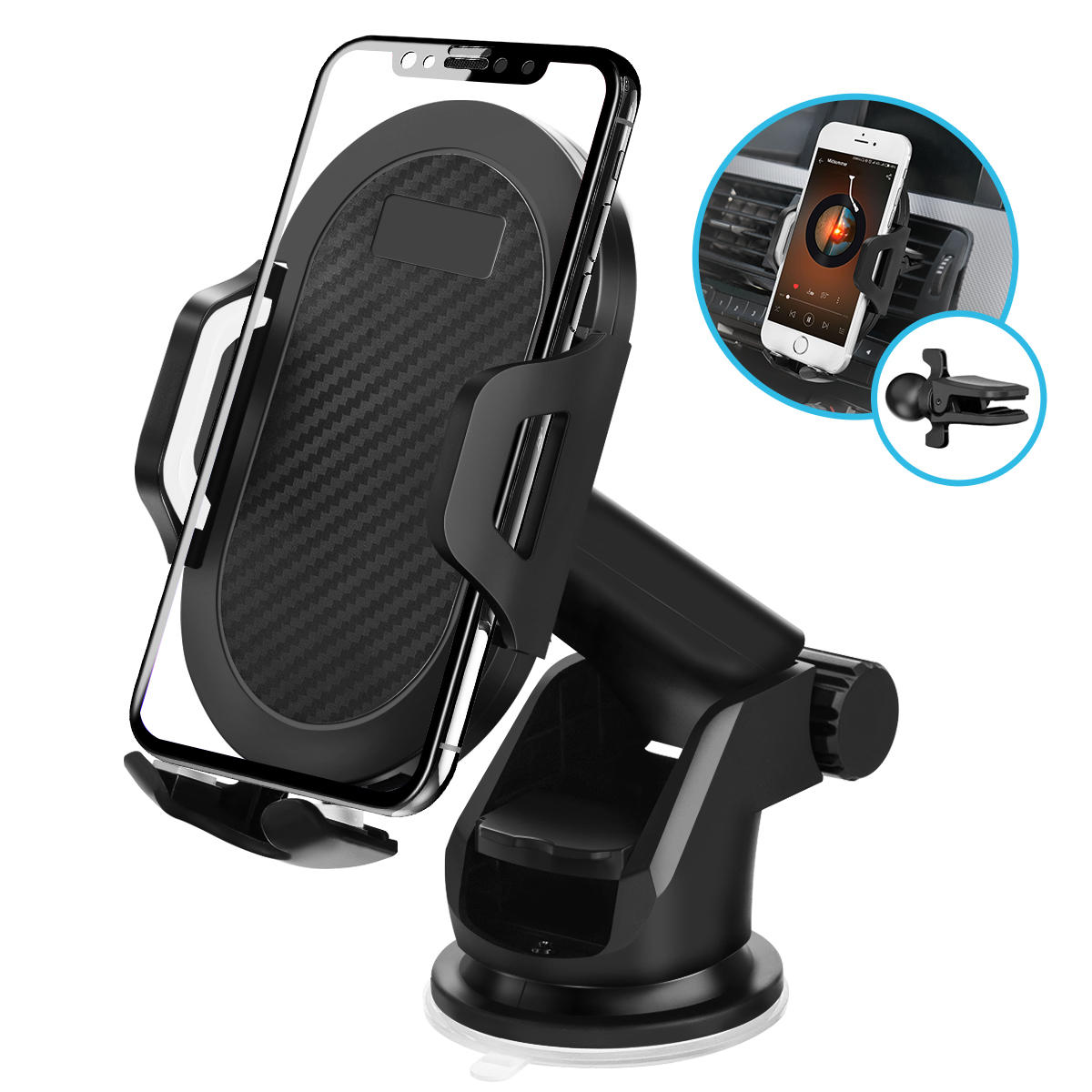 ELEGIANT 2 I 1 Car Air Vent Dashboard Sugekop Car Phone Holder For 4.0 Inch - 6,5 Tommer Smart Phone iPhone XS Max Samsung Galaxy S10 Plus