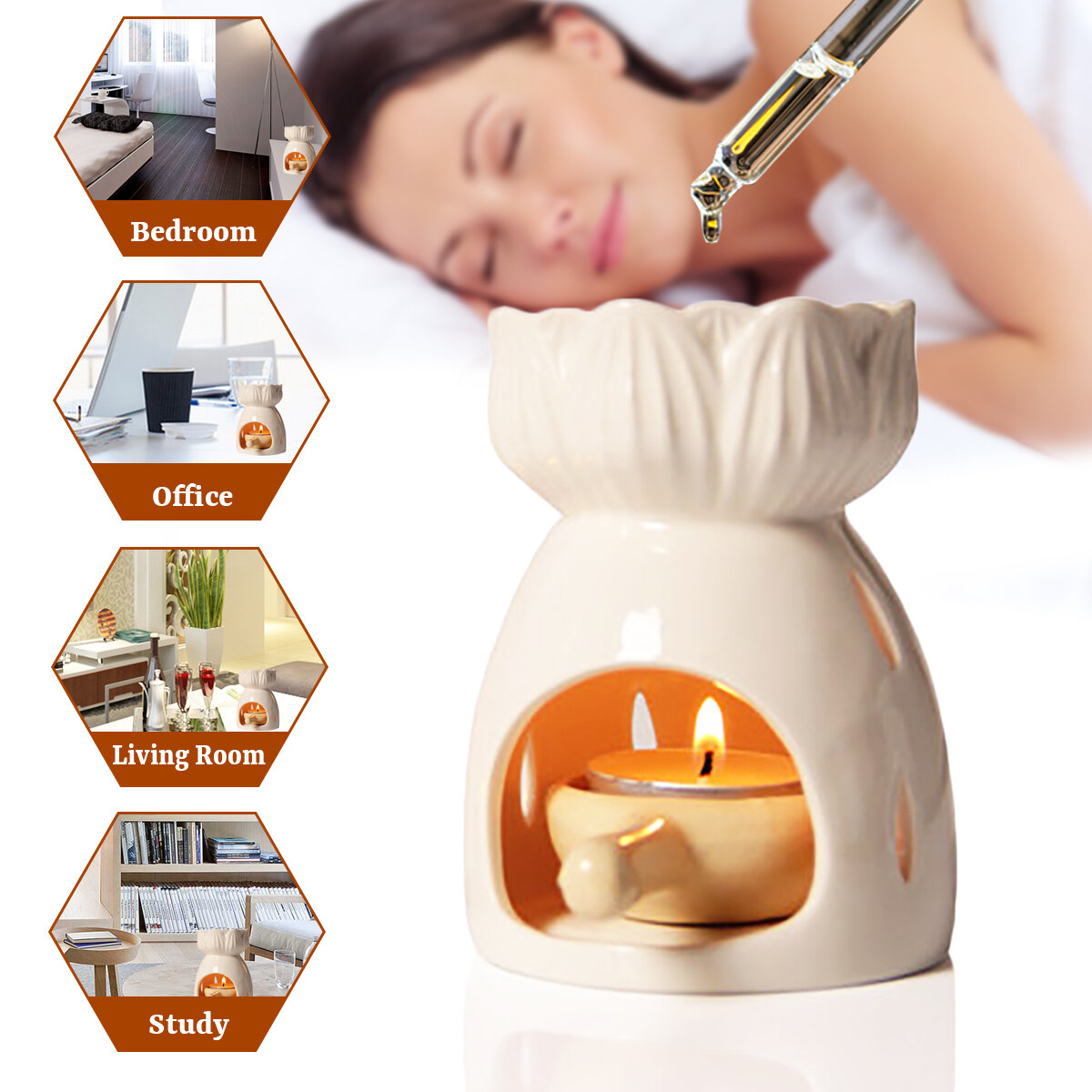 White Flower Oil Burner Tea Light Candle Wax Melt Aromatherapy Diffuser Humidifier Essential Oil Warmer
