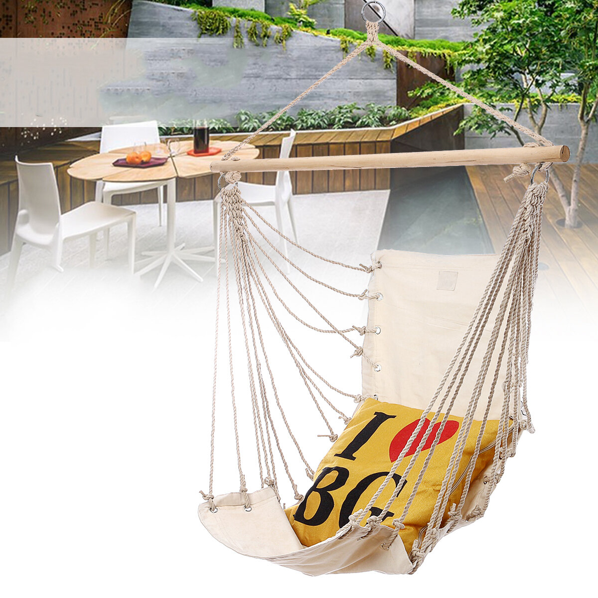 17x32inch Outdoor Hammock Chair Hanging Chairs Swing Cotton Rope