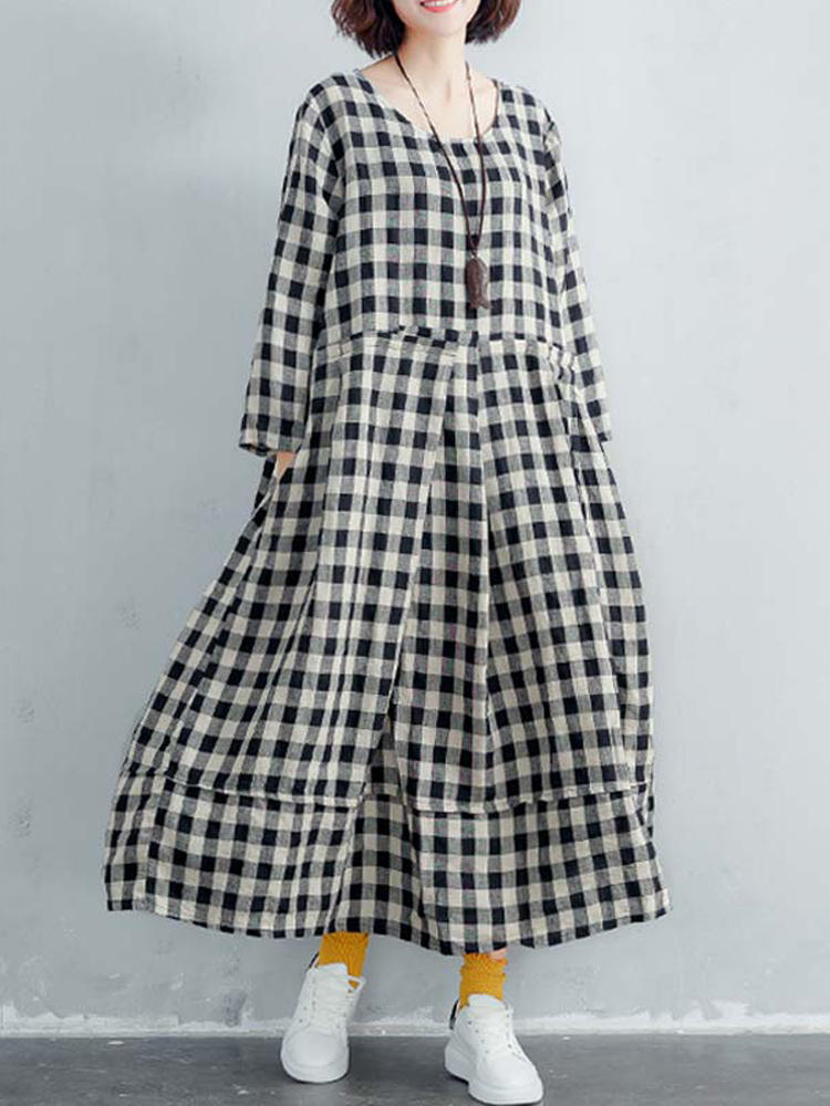 Women Long Sleeve Cotton Plaid Long Maxi Shirt Dress