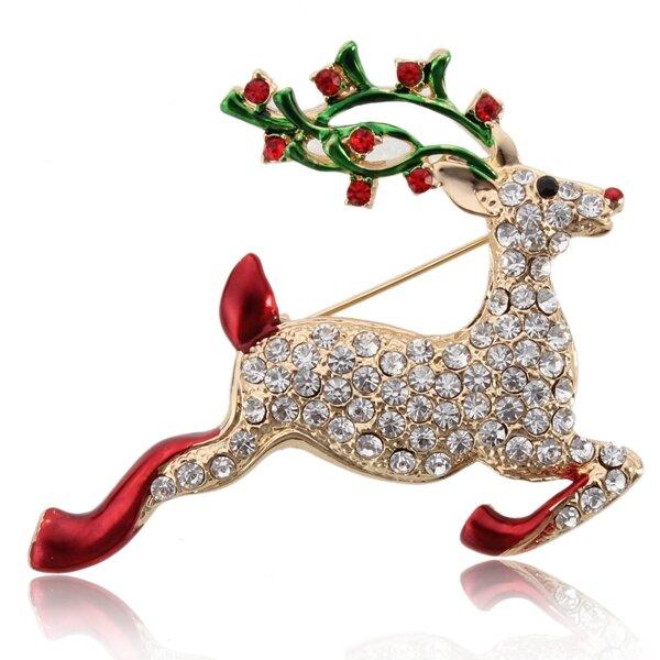 Colorful Crystal Christmas Bell Elk Snowman Brooch Pins Christmas Gift