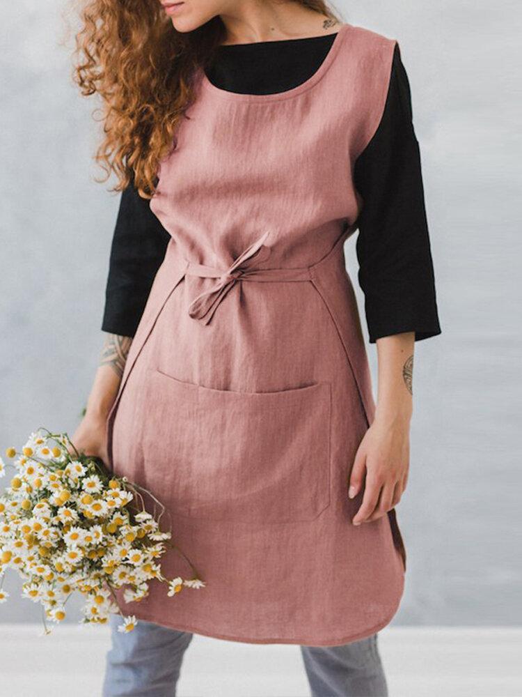 Kadın Kolsuz Cep Pamuk Düz Renk Vintage Apron Elbise