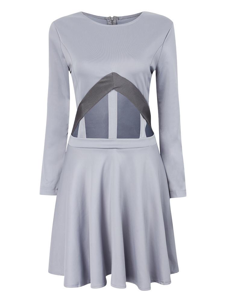 Gaun Grey Cut Out Mini Skater Seksi Untuk Wanita