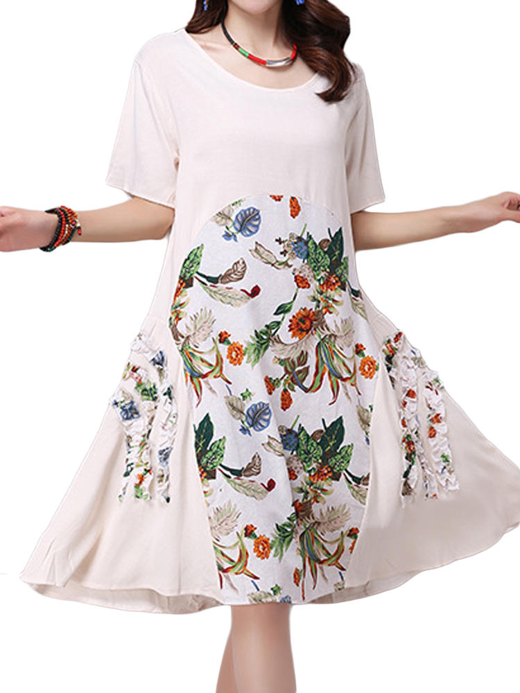 Wanita Floral Dress Vintage Printed Patchwork Swing Dresses