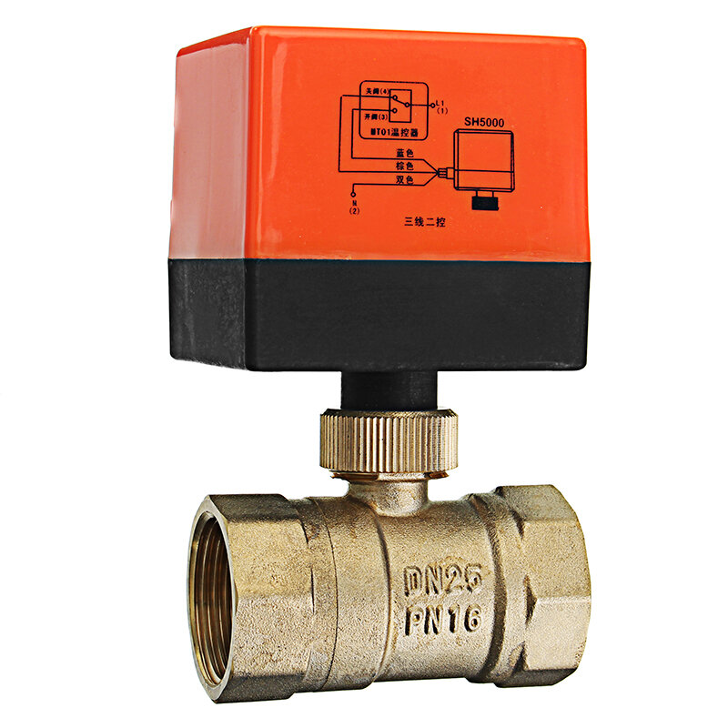 "TMOK TK260 1/2"" 3/4"" 1"" 1-1/4"" Motorized Electric Brass Ball Valves 3 Wire AC 220V Full Port Valve"