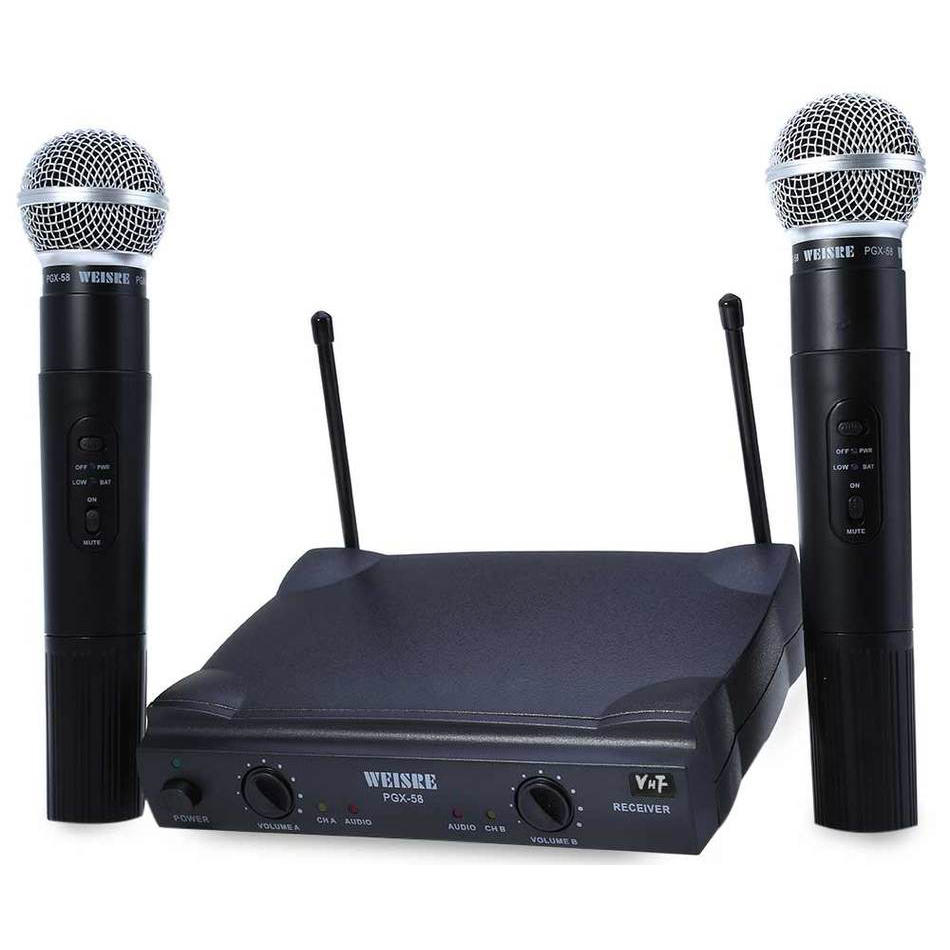 WEISRE PGX58 Omni Directional Wireless Microphone System Dual Mic for Karaoke Party KTV