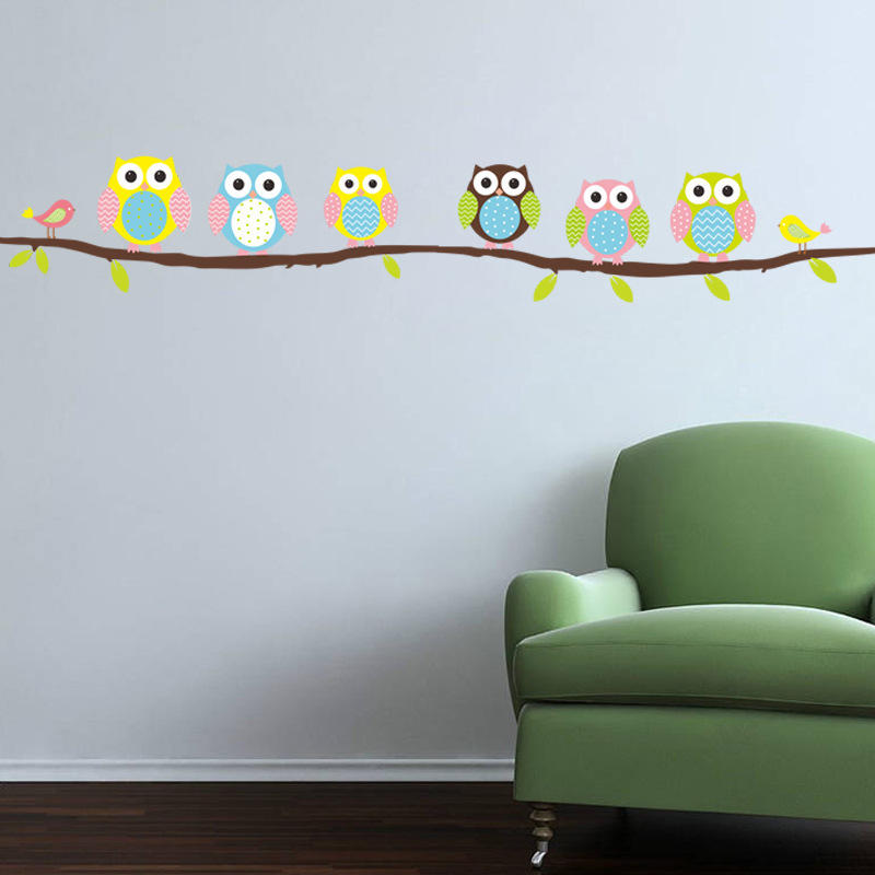 Owl Branch Tree Children Bedroom Living Room Living Room Wall Sticker Waterproof Can Be Removed фото
