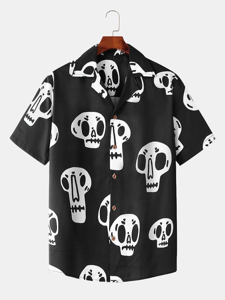 Banggood coupon: Estampa de esqueleto masculino Revere Collar manga curta Camisa