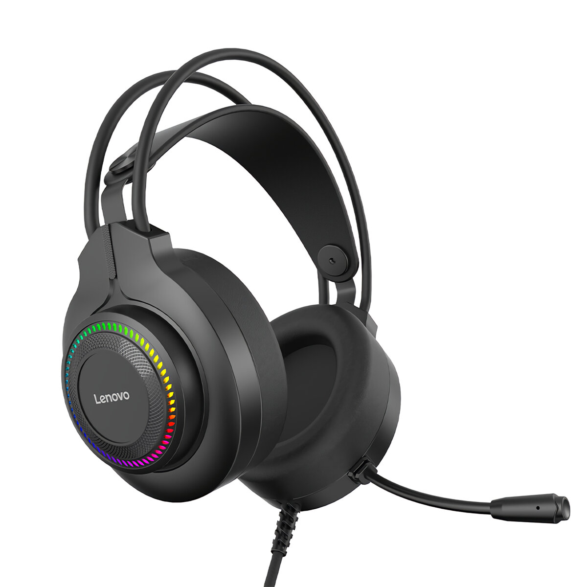Lenovo G20-B Game Headset USB Wired 7.1 Channel Surround Sound RGB Light Over-Ear Gaming Headphone with Noise Canceling