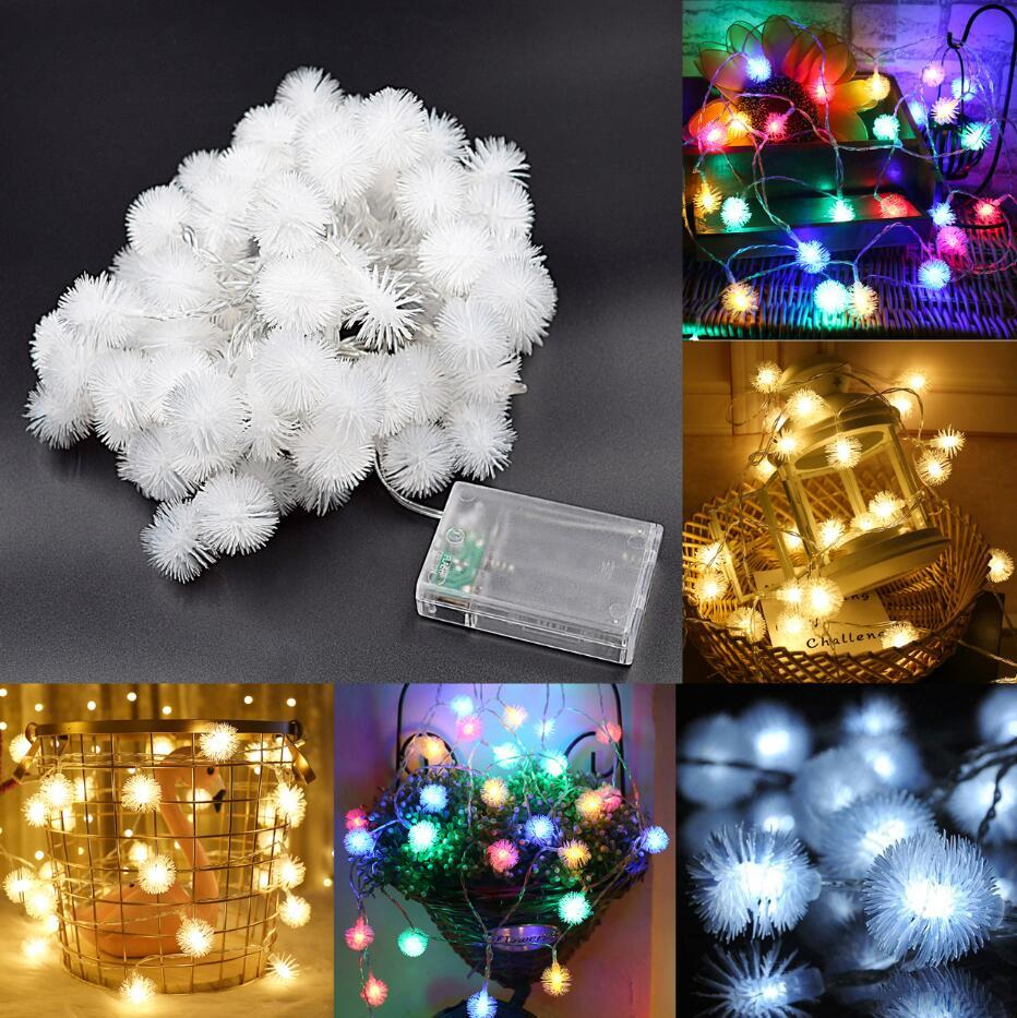 Battery Powered 10M 2.4W Snow Ball 80LED Holiday String Light Party Christmas Wedding Decor DC4.5V