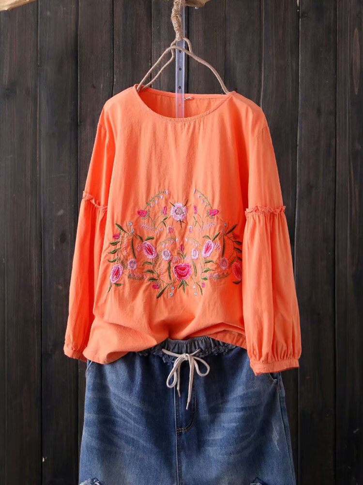 Women Floral Embroidered Lantern Long Sleeve Tops
