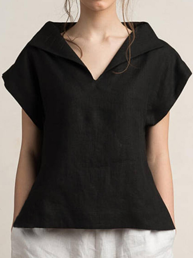 V-Neck Short Sleeves Solid Color Cotton Linen Tunic Blouse фото