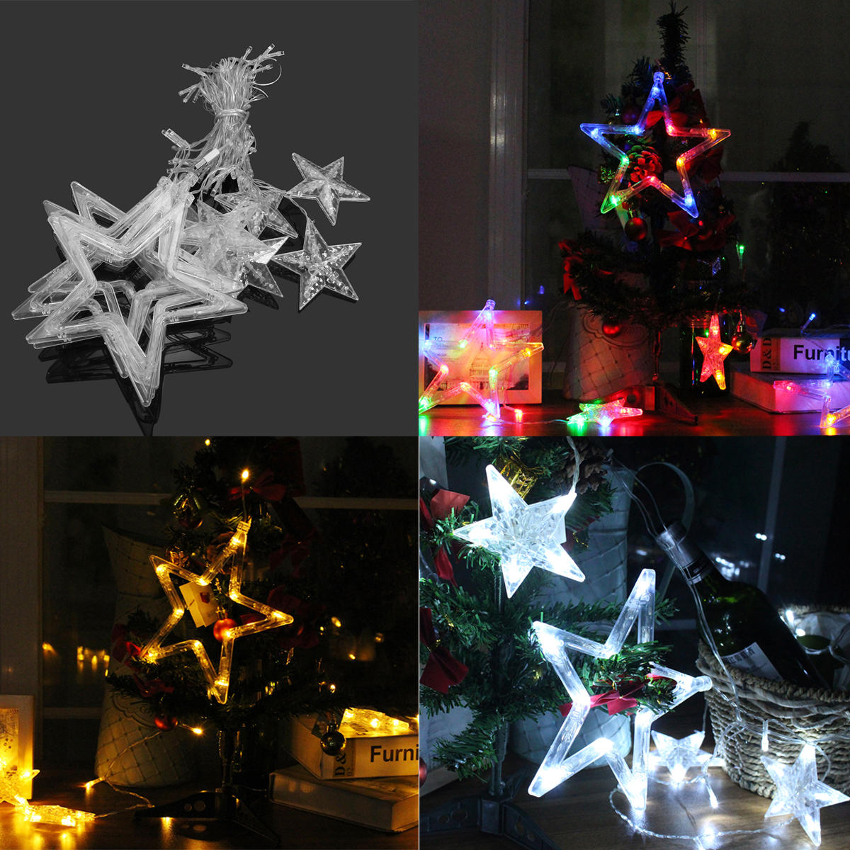 Battery Powered USB 12LEDs Star Fairy String Light for Wedding Party Christmas