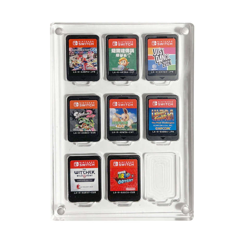Game Card Case for Nintendo Switch 9 Cartridge Slots Holder Protective Shockproof Display Cabinet Transparent Acrylic Ga