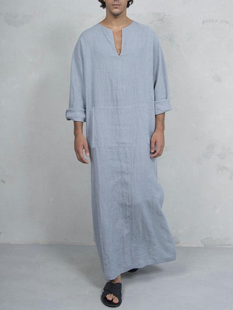 be16d47e7036d Vintage Ethnic Style Kaftan Loose Comfy Simple Tunics Robe Loungewear for  Men