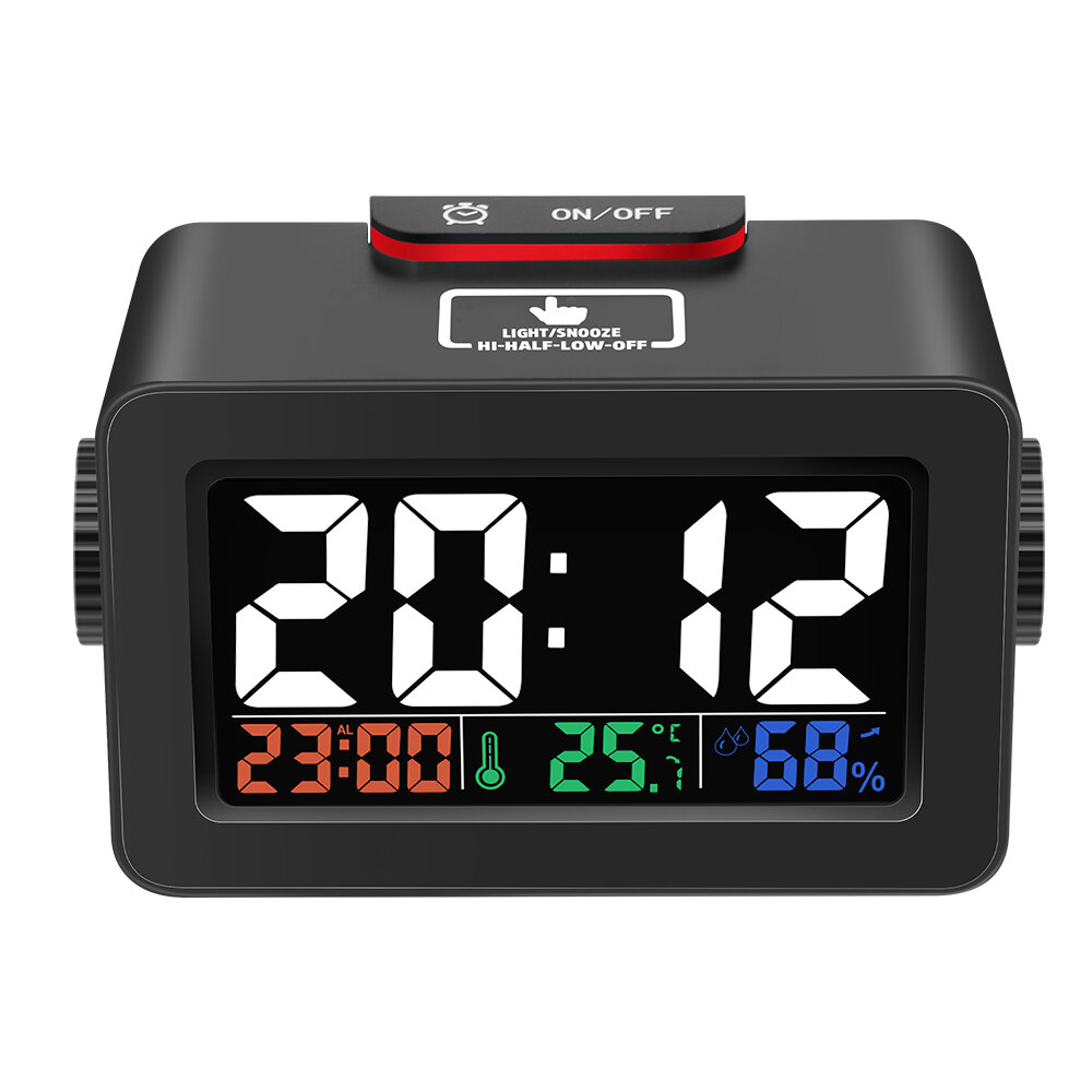 [2019 Third Digoo Carnival] Digoo DG-C1R Brother Double Knob Simplified Alarm Clock Touch Adjust Backlight with Temperature Humidity Display