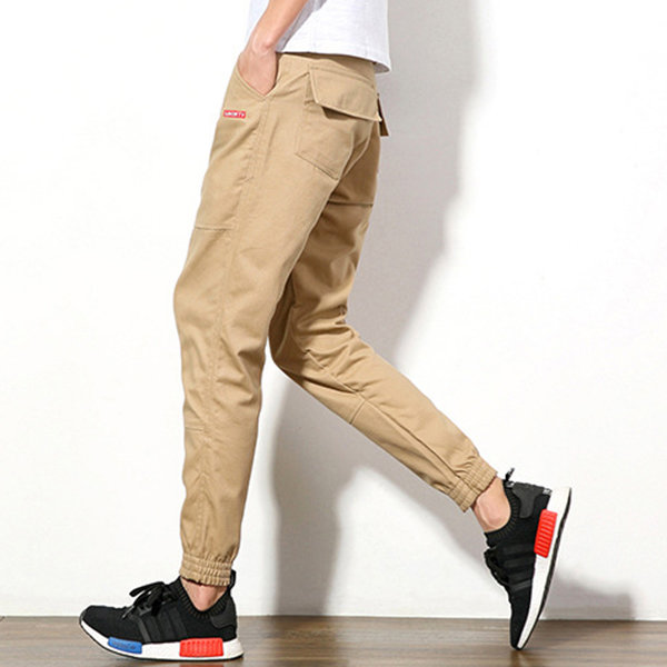 Spring Summer Mens Casual Ankle Banded Pants Feet Slim Haren Trousers