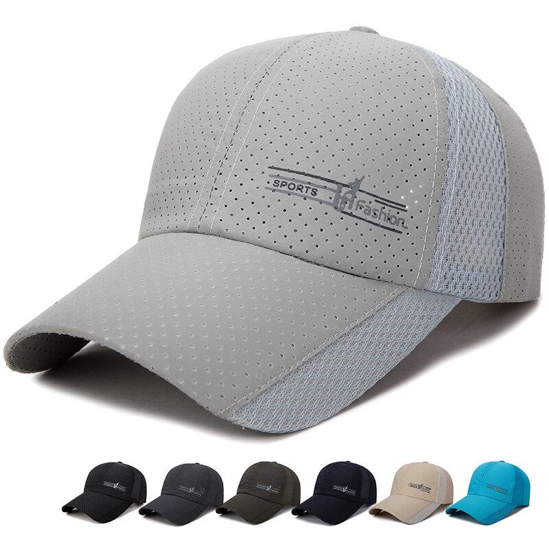 8032cbf8 Summer Dad Hats Mens Mesh Patchwork Snapback Baseball Caps Outdoor Visor Hat  - Black COD