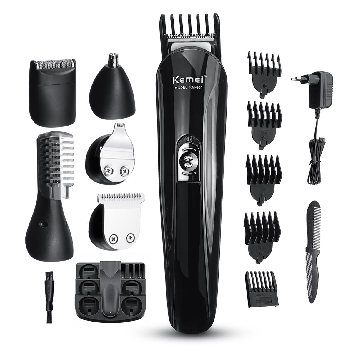 KEMEI 6 in1 Multi-functional Beard Trimmer Set Rechargeable Hair Cut Clipper Kit Ear Nose Shaver