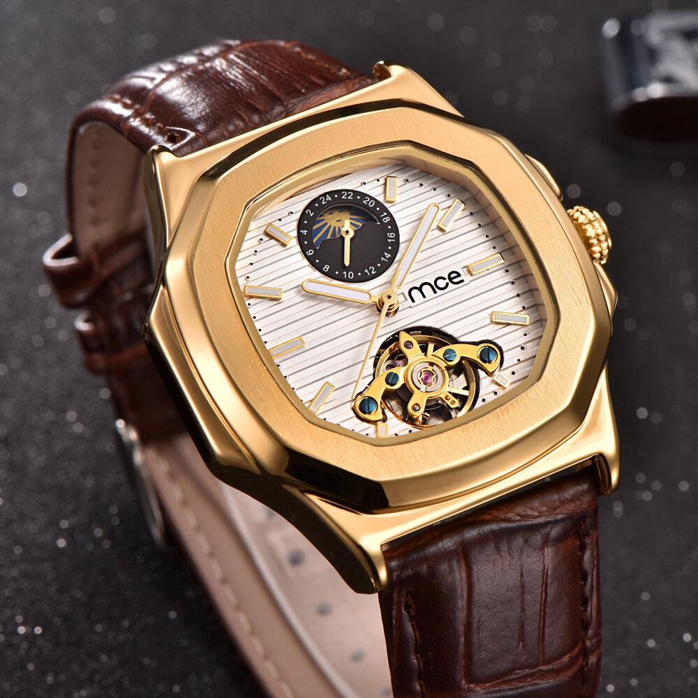גולד מקרה גברים לצפות הירח שלב עסקים סגנון רצועה רצועת עור אוטומטיים שעון