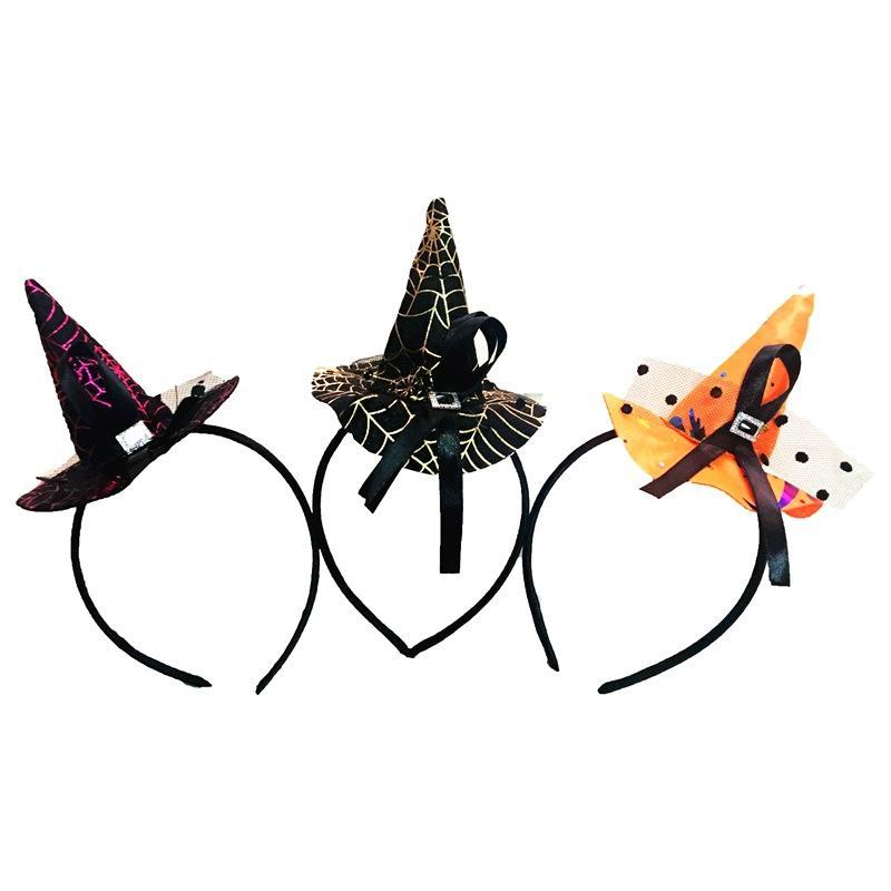 Halloween Party Properties Capelli Banda Cappellino Witch Pointy Cap Orange Black Gold Rose Capelli Accessori