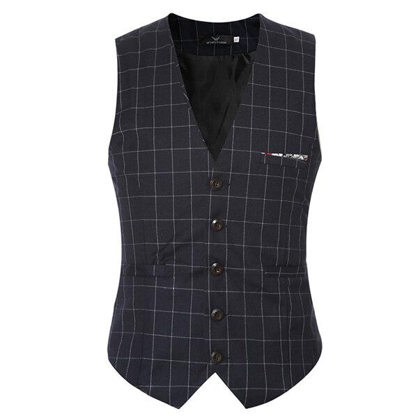 Mens Casual Plaid Vest Gentleman Business V-neck Collar Slim Fit Suit Waistcoat