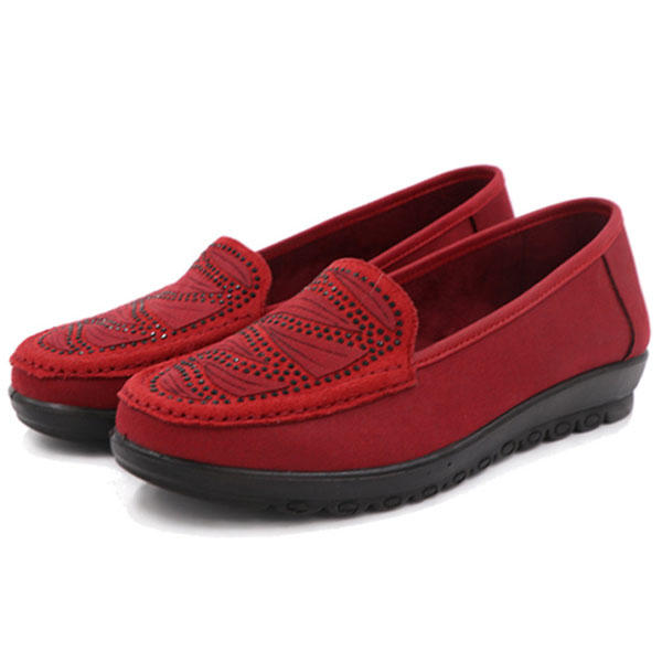 Women Casual Flat Slip On Soft Shoes In Suede