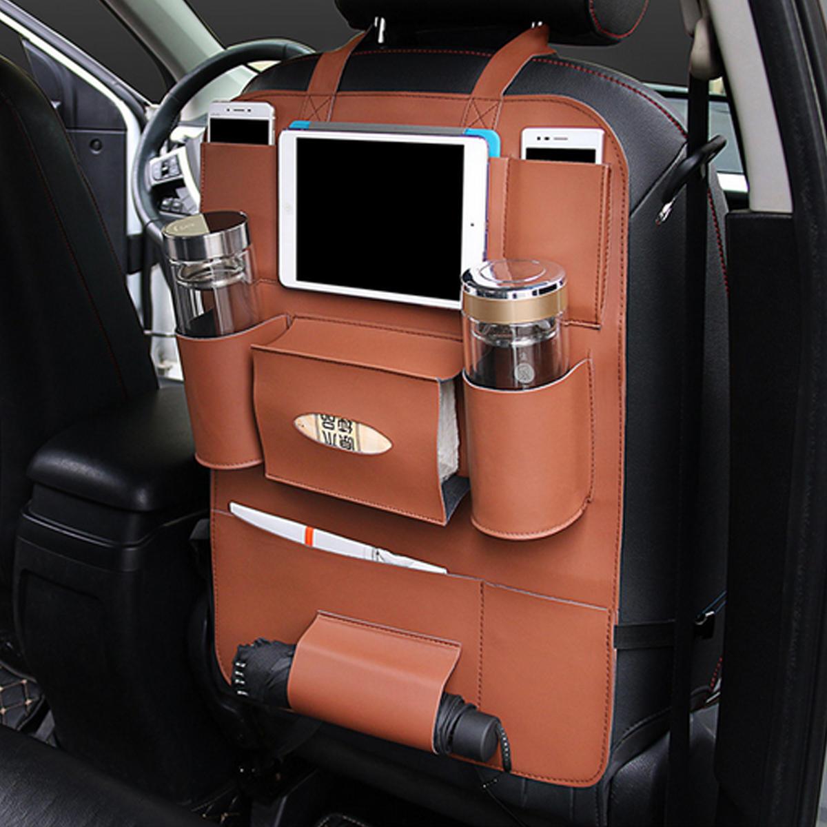 मल्टी-फ़ंक्शनल पु चमड़ा कार बैक सीट स्टोरेज बैग मल्टी पॉकेट फोन कप धारक ऑर्गनाइज़र
