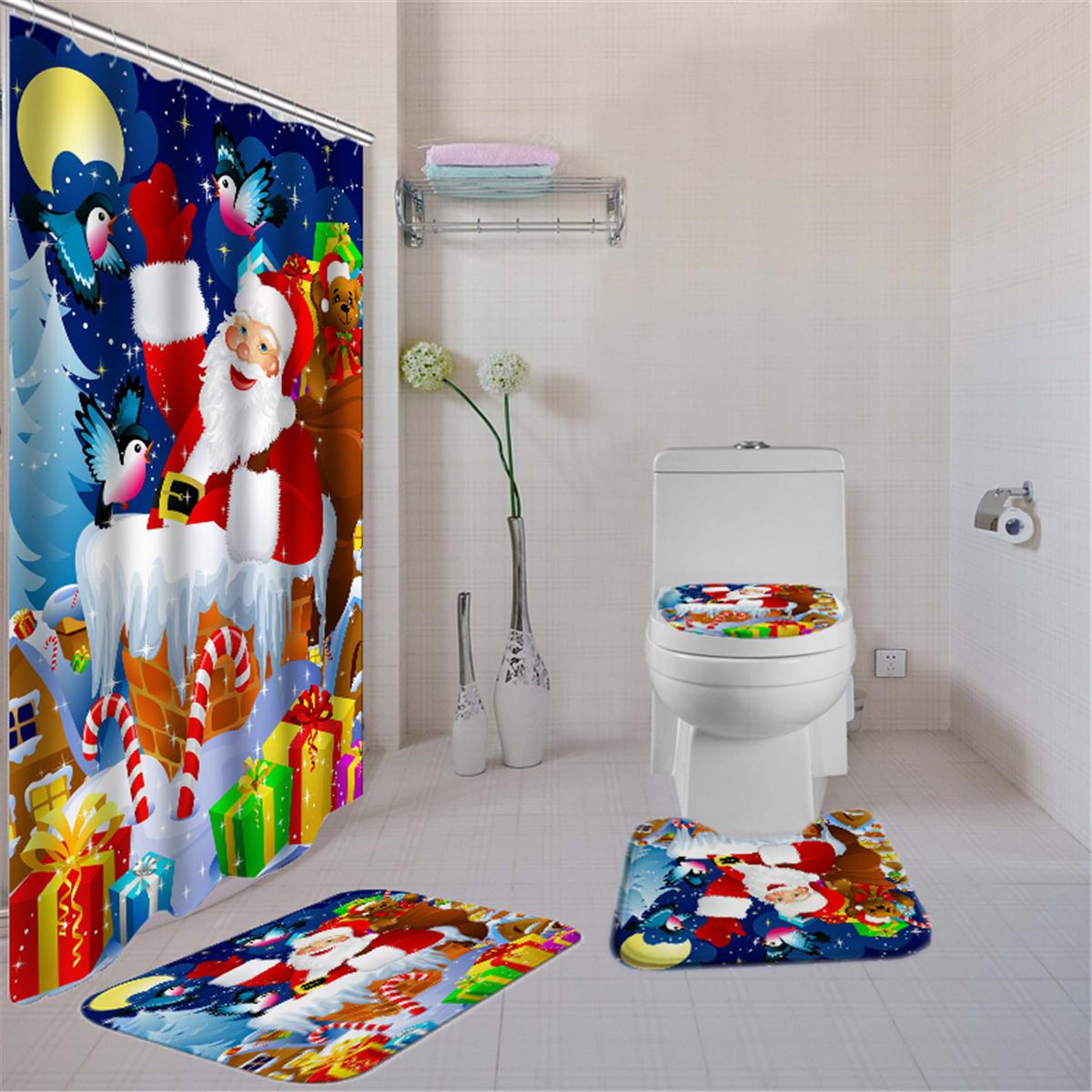 180x180 Santa Claus Christmas Gifts Shower Curtain With Hooks Waterproof Bathroom Carpet Set