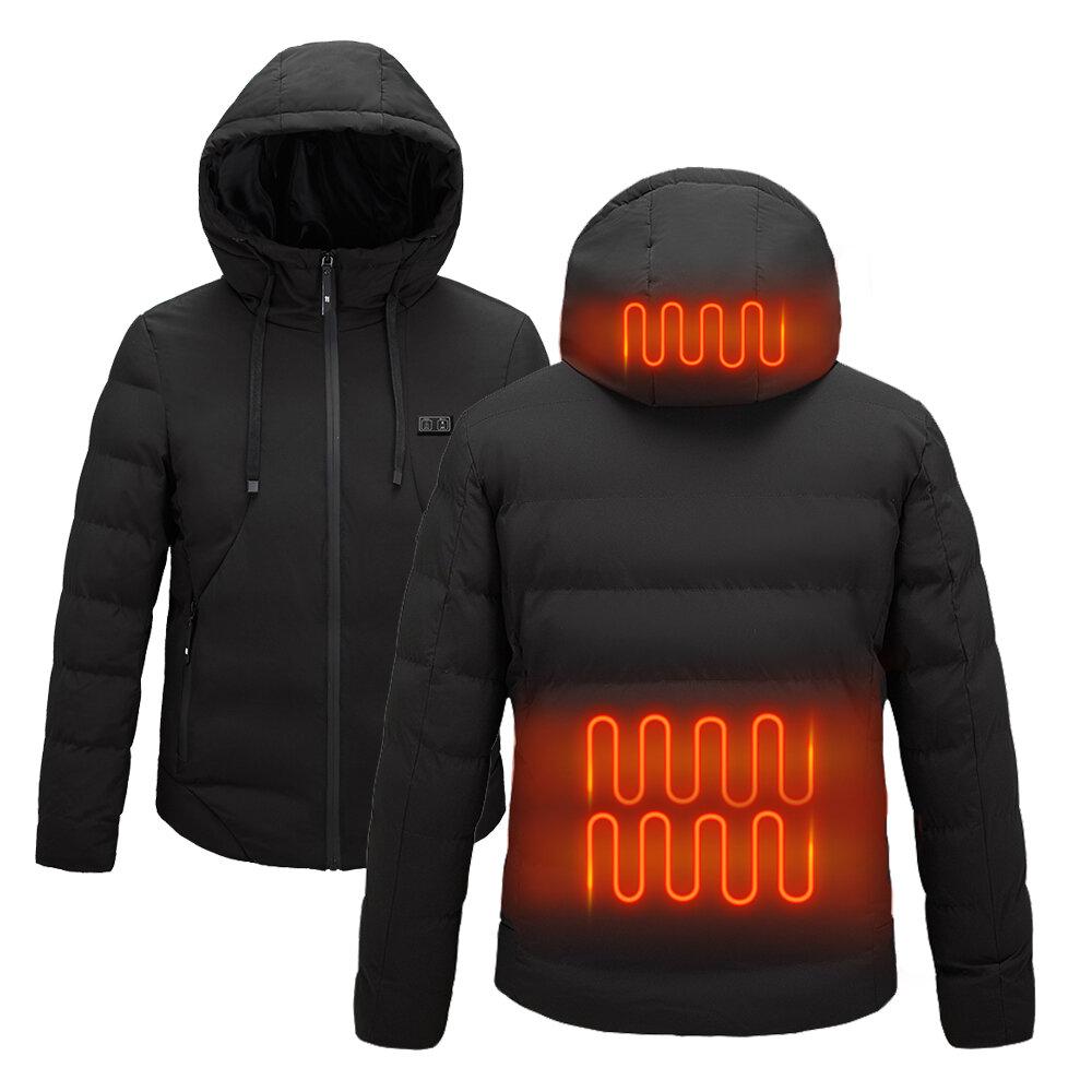 TENGOO Smart Heated Hooded Coat 2 Places Heated 3-Gears Down Jacket USB Electric Heating Jacket Winter Warm Fishing Skii