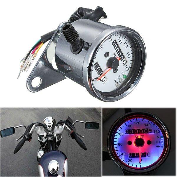 Universal Motorcycle Universal Speedometer Gauge LED Backlight Signal Instrument