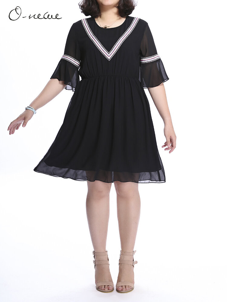 Plus Size Women Embroidery Patchwork Ruffle A-line Dress