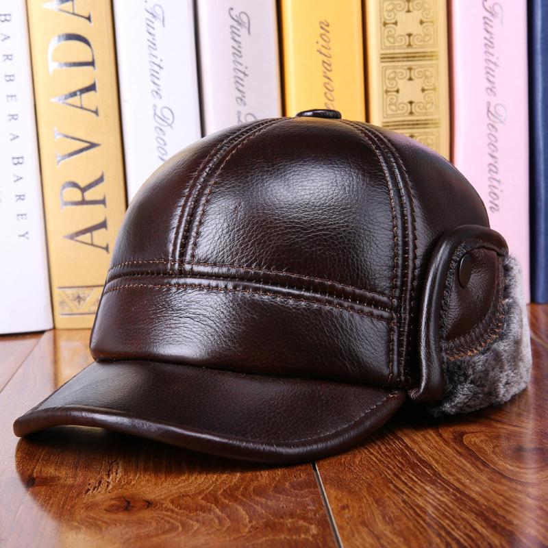 शीतकालीन विंटेज Cowhide असली लेदर Earmuffs Hat गर्म फ्लीस लाइनर कैप परिपक्व पुरुषों कैप