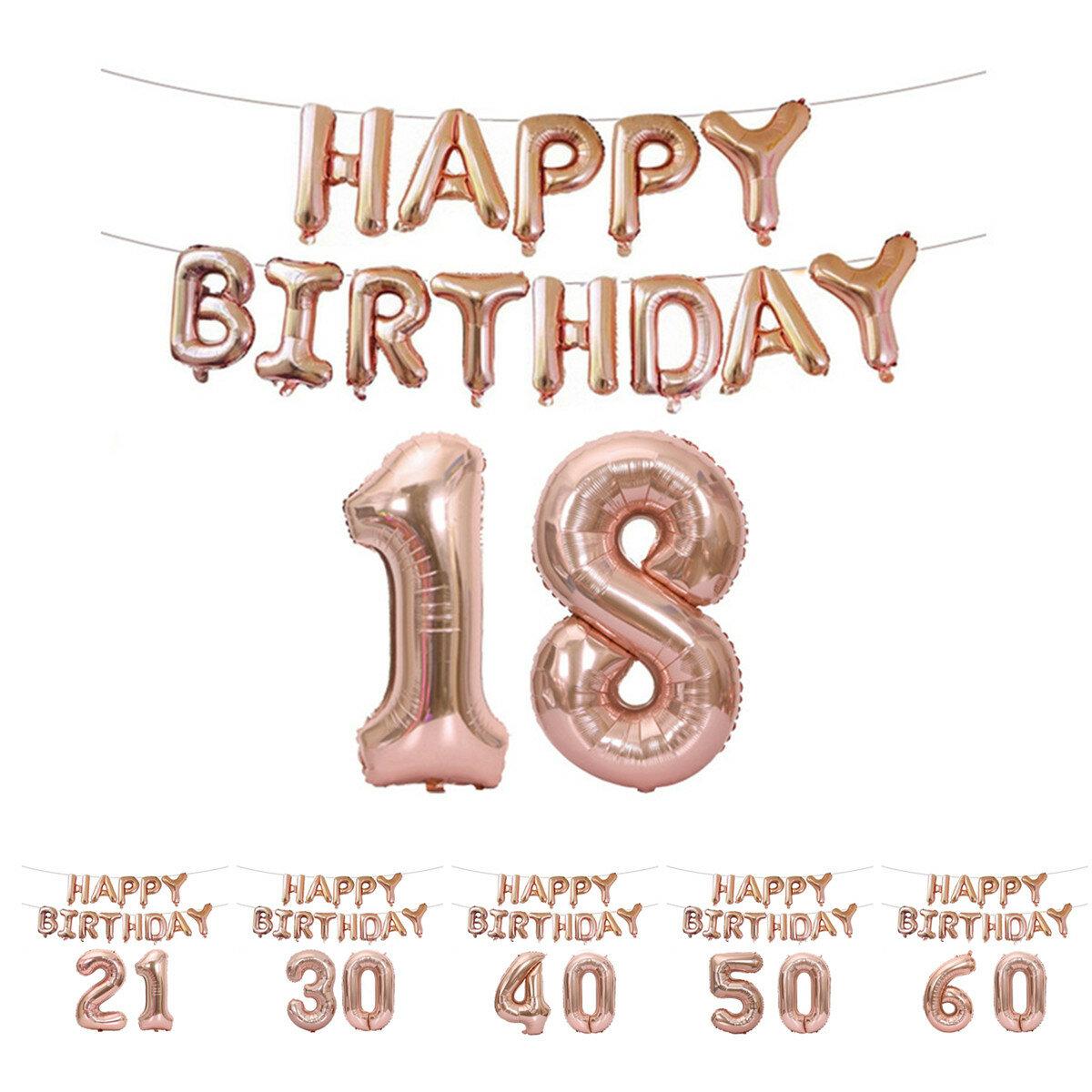18/21/30/40/50/60 ° Oro rosado Lámina para feliz cumpleaños Globo Decoraciones para fiestas con decoraciones de kit de banner