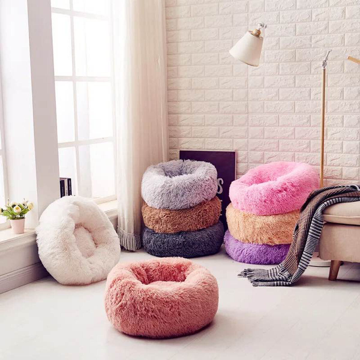 Long Plush Soft Warm Pet Dog Cat Round Deep Sleeping Mat Bed House Winter Lounger