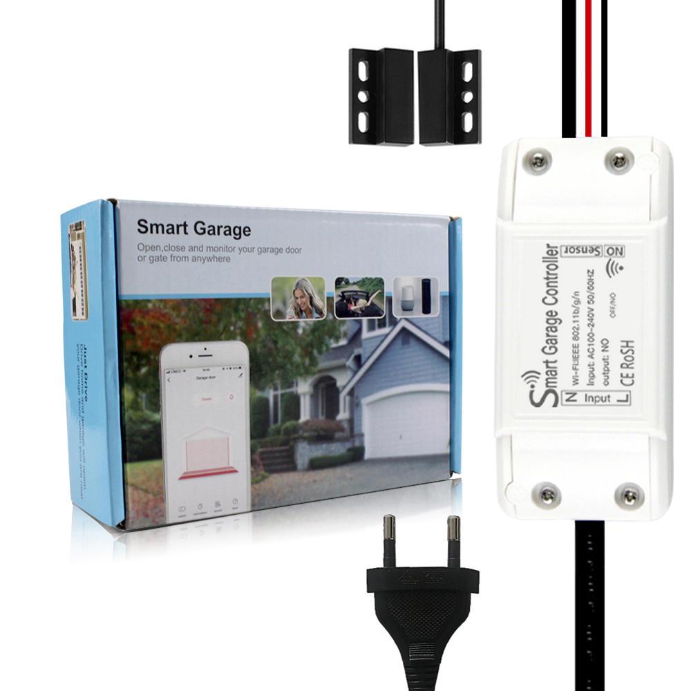 MoesHouse WiFi Smart Switch Garage Door Controller Opener Smart Life/Tuya APP Remote Compatible With Alexa Echo Google Home No Hub Require