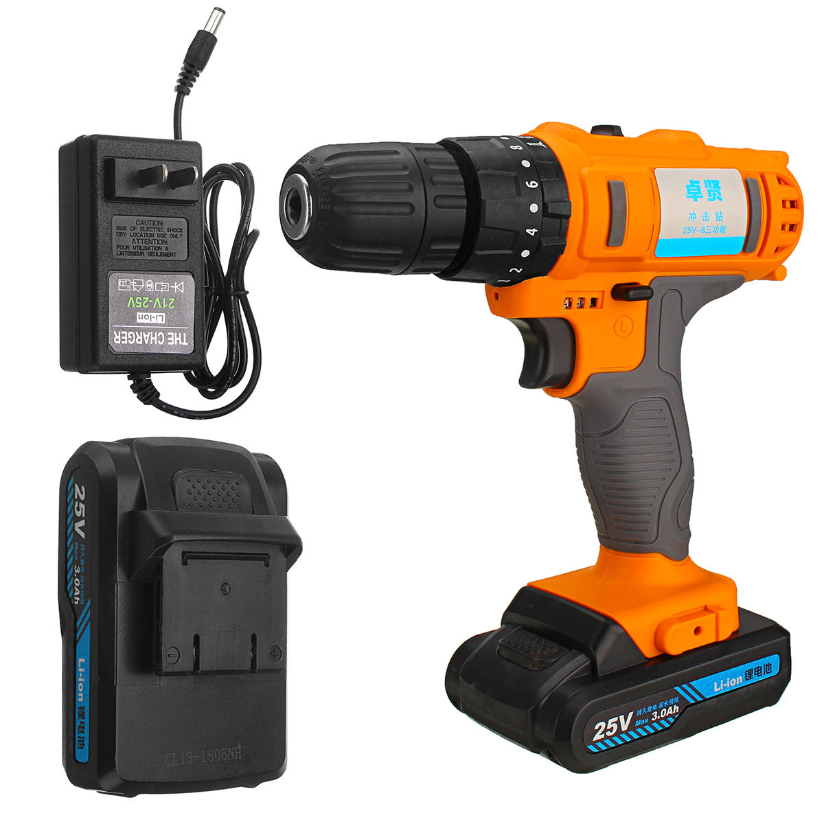 25V Cordless Power Drill Rechargeable 2 Speed Electric Screwdriver Li-ion Battery Driver Tool 0.8-10mm
