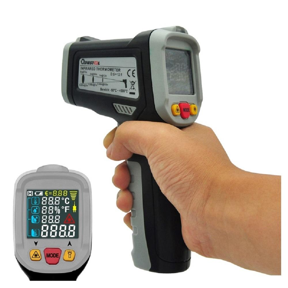 Mustool® MT6800 -50~800℃ Digital LCD Color Display Non Contact Infrared Laser Thermometer Temperature Tester Gun with 12 Indicative Ring + Temperature Difference Alarm + Dew Point Temperature + K-type