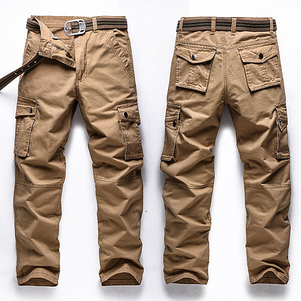 c688ecd94cc27f Big Size 30-48 Multi Pocket Cargo Pants Fashion Mens Outdoor Army Casual  Cotton Trousers - Khaki 30 COD
