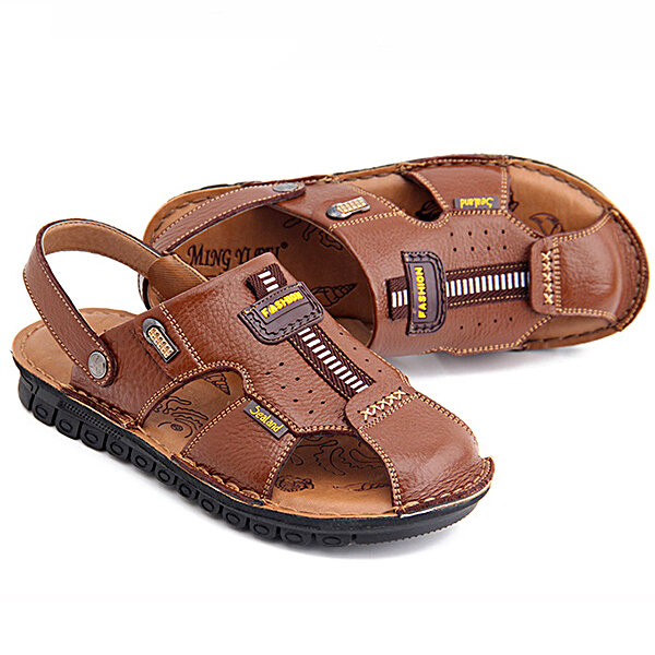 New Men's Wrapped Toe Non-slip Quick-drying Leather Sandals Simple And Practical Style Slippers Shoe