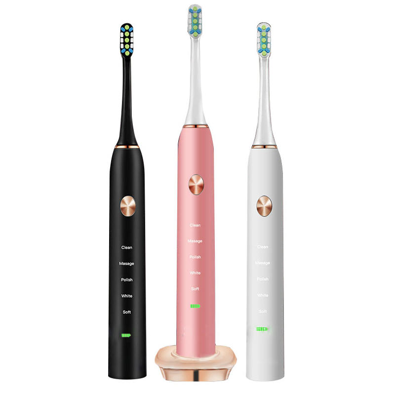 Loskii PA-213 Ultrasonic Vibration Electric Toothbrush Rechargeable 5 Optional Modes Timer Toothbrush 2 Replacement Heads Dental Care Tooth Cleaner