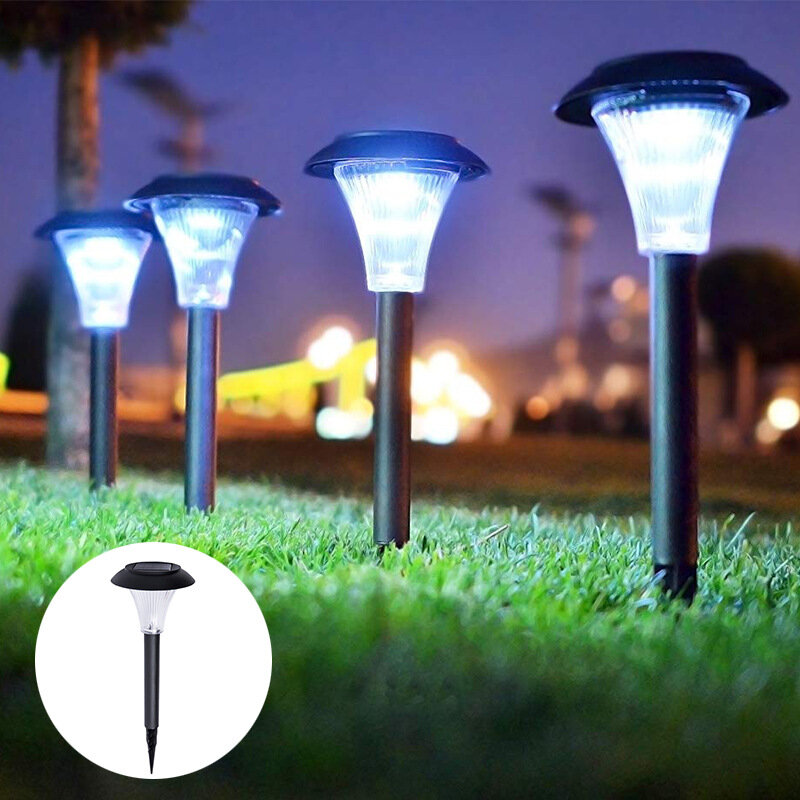 4Pcs LED Solar Lawn Light Ground Plug Light High Brightness Outdoor Waterproof Courtyard Garden Decoration Landscape Law