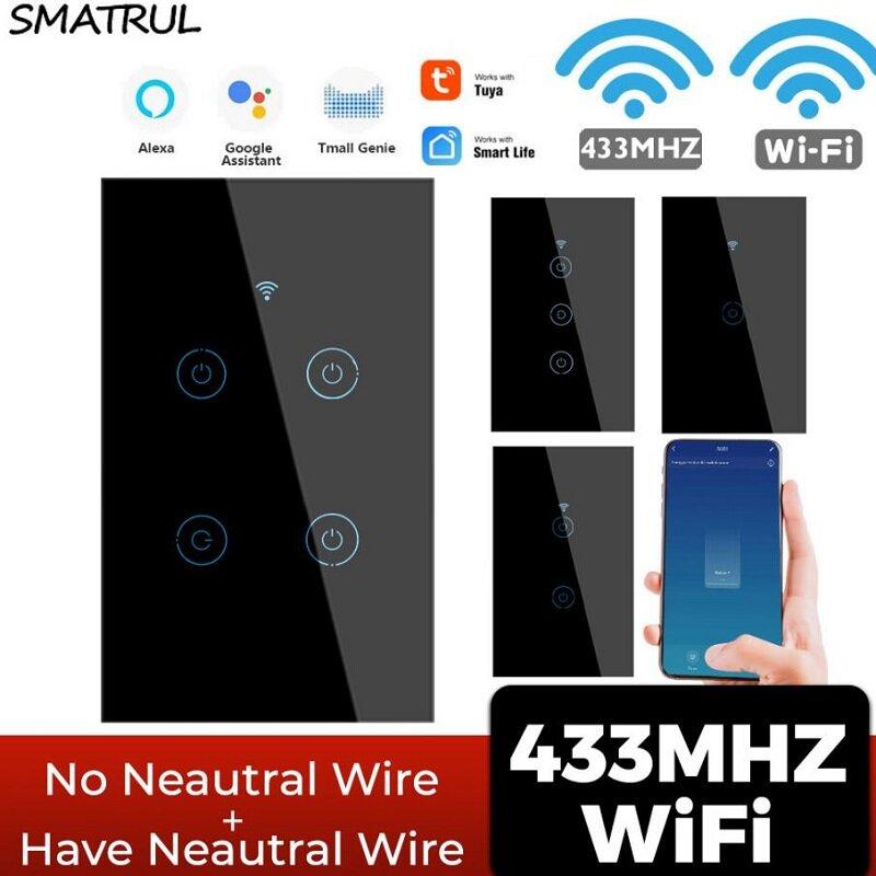 SMATRUL Tuya 433mhz Smart Wifi Touch Switch Light US Sem Neutro Fio Obrigatório remoto Controle de Tempo Ligado para Ale