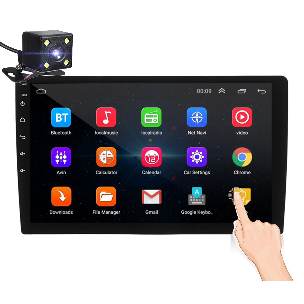 iMars 10.1 Inch 2Din for Android 8.1 Car Stereo Radio 1 + 16G IPS 2.5D Touch Screen MP5 Player GPS WIFI FM with Backup Camera
