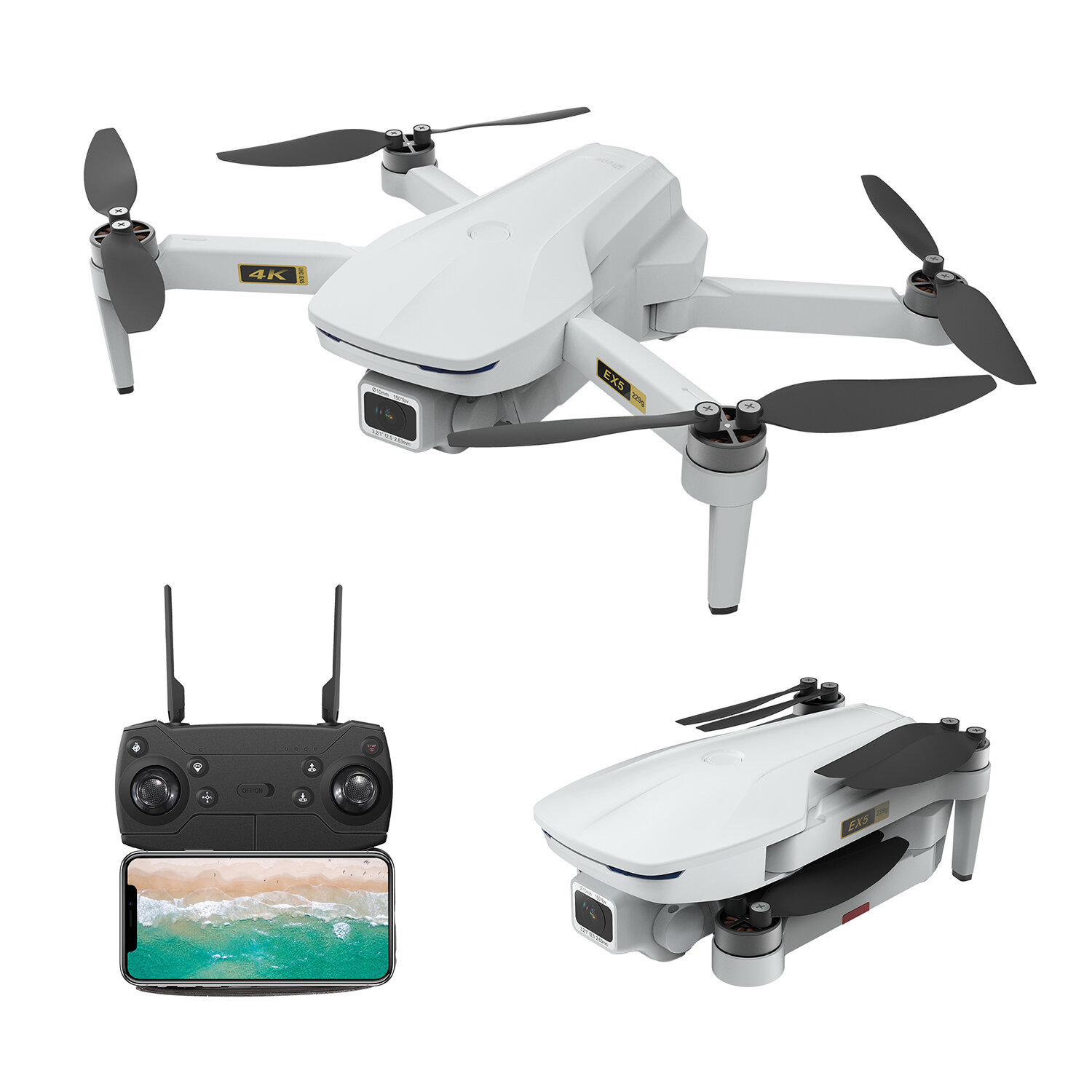 Eachine EX5 5G WIFI 1KM FPV GPS With 4K HD Camera Servo Gimbal 30mins Flight Time 229g Foldable RC Drone Quadcopter RTF