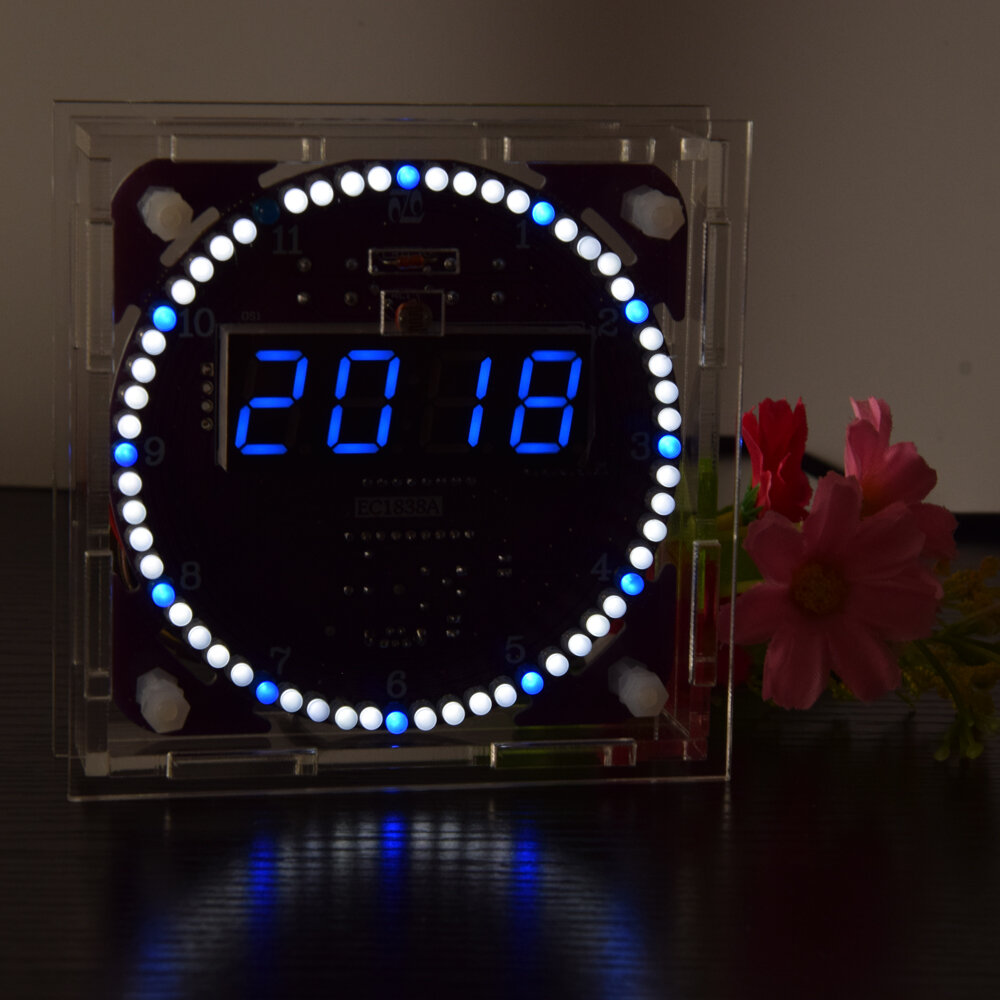 Geekcreit® Fourth Generation DIY EC1838A DS1302 Light Control Rotation LED Electronic Clock Kit Music Alarm Clock With Housing