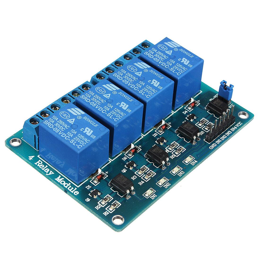Geekcreit® 5V 4 Channel Relay Module Untuk Arduino PIC ARM DSP AVR MSP430 Biru