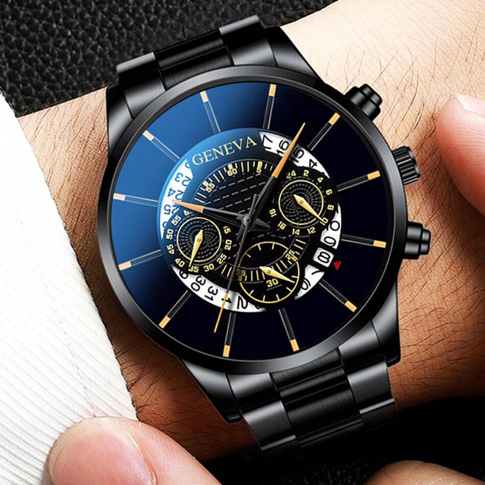 Geneva Business with Calendar Dial Stainless Steel Band Waterproof Men Quartz Watch