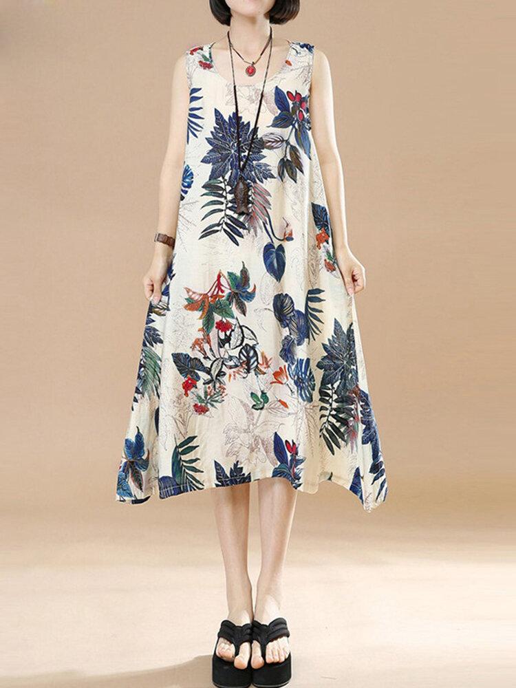Plus Size Vintage Women Floral Printed Sleeveless Maxi Dresses